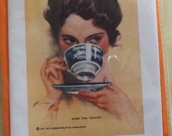 Over The Teacup. 1917. Lovely painting. Blank Greetings Card. Handmade, Homemade