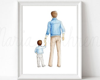 Customizable Father Son Fashion Illustration Print, Family Portrait, Personalized Gift for Him, Gift for Dad, Watercolor Art Print