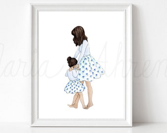 Dancing Mother Daughter Fashion Illustration Print, Custom Mother's Day Gift, Mommy and Me Outfits Print, Mom Watercolor Print