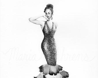 Vintage Mermaid Dress Fashion Illustration, Watercolor Painting, Fashion Art, Fashion Wall Art, Original Painting, Gift For Her
