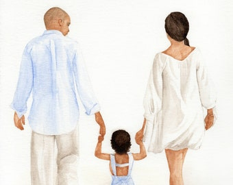 Basic Custom Watercolor Painting, Personalized Family Portrait Back View, Hand-painted Commissioned Watercolor Painting, Housewarming Gift