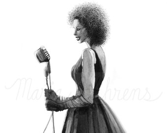Retro Music Scene Fashion Illustration, Watercolor Painting, Fashion Art, Fashion Wall Art, Original Painting, Original Art, Gift For Her