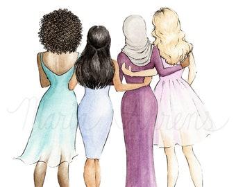 Women's Day Fashion Illustration Printable, Digital Download Friendship Watercolor Art, Fashion Art, Watercolor Printable Art