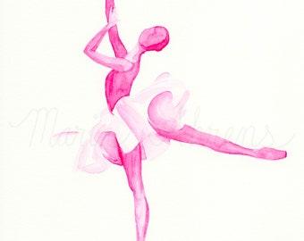 Pink Ballerina Original Watercolor Painting, Fashion Illustration, Fashion Art, Fashion Wall Art, Gift for Her, Dancer Gift