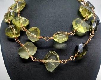 Smoky and  Lemon Quartz  Necklace