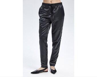 0a497f8ec388 Lounge Pants Graphite Silk Cotton Pants Natural Silk Pajama Bottom  Loungewear Ready to wear pajama Outdoor pajama suit