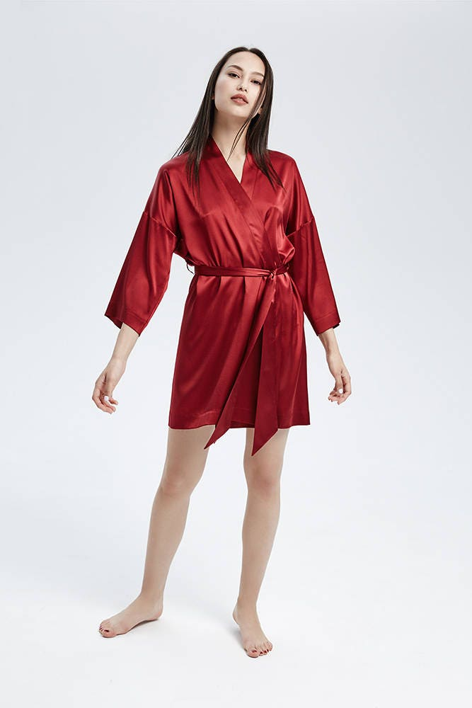 2019 Wholesale High Quality 100% Silk Robes Chinese Red ... |Red Silk Robe