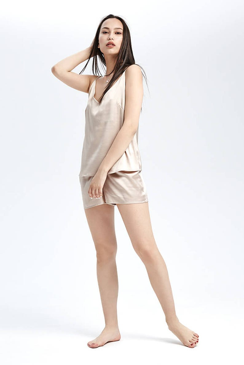 Chemise Silk Camisole Top and Shorts in Beige  Red  Black Silk Top Pajama Set Tank Silk Cami