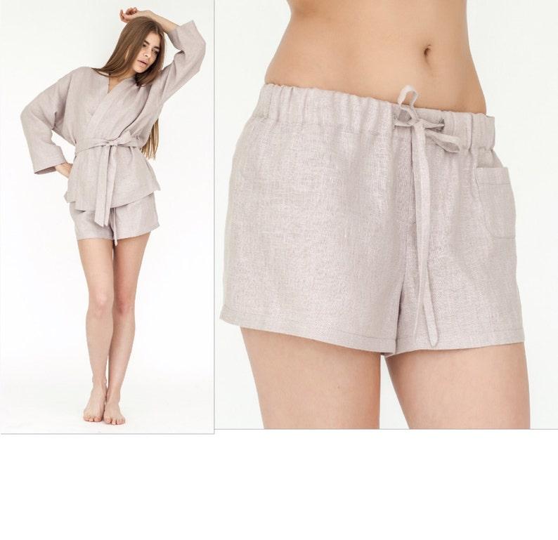 3dbf3e393999 Linen Shorts Pajama Set Shorts Linen Lounge Panties Linen