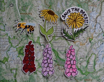 Save The Bees Flowers and Bee Vinyl Sticker Pack