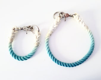 CHOOSE YOUR COLOR - Custom Color Ombre Rope Dog Collar - 100% Cotton