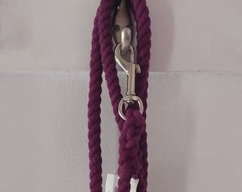 Solid Purple Cotton Rope Dog Leash - 5 foot - 3/8 inch wide - ready to ship - fast shipping - christmas