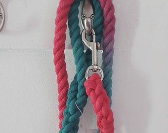 Fuchsia and teal rope dog leash - pink and blue - silver - 100% cotton - ready to ship - fast shipping - christmas - 5 foot