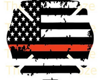 Thin Red Line Distressed Cross Firefighter & Thin White Line Distressed Star of Life Ems Support SVG