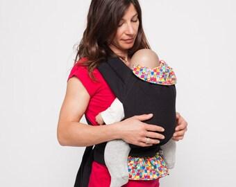Porte-bébé Mei-Tai physiologique BIO Echarpe de portage Baby carrier Coeurs  100% coton biologique Biologic cotton birth to 15 kgs 79fd7d7d10f