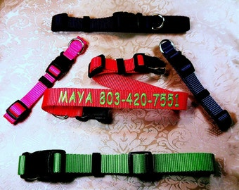 PERSONALIZED EMBROIDERED Dog Collars, Custom Made Sizes ,13 Colors,  ,Heavy Nylon,All Sizes, (Ships in 2 days or Less)