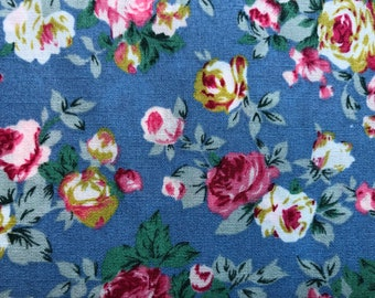 Children/'s Material Yellow Floral Daisy Blue Navy Flower Polycotton Fabric