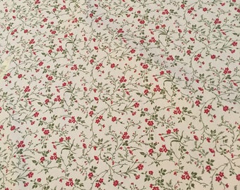 a5d9f9a05a6e Very pretty ivory, green and red floral fabric - Rose and Hubble 100% cotton  poplin fabric UK