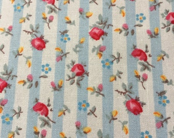 Very pretty light blue and pink floral striped fabric - Rose and Hubble  100% cotton poplin fabric UK