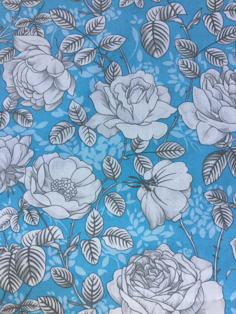 Blue And White Floral Fabric Cotton Poplin Fabric Uk Etsy