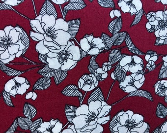 Burgundy Red and white floral Rose and Hubble  100% cotton poplin fabric UK