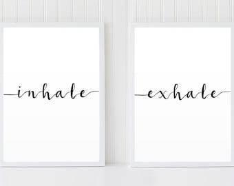 Atmen Sie Ausatmen, Atmung Auszuatmen Druck, Skandinavischen Print, über  Bett Kunst, Fitness Print, Yoga Druck Set, Art Deco,