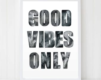 Good Vibes Only, Printable Quote, Black White Poster, Quote Print, Scandinavian Print, Workspace Decor, Motivation Art, Modern Wall Art,