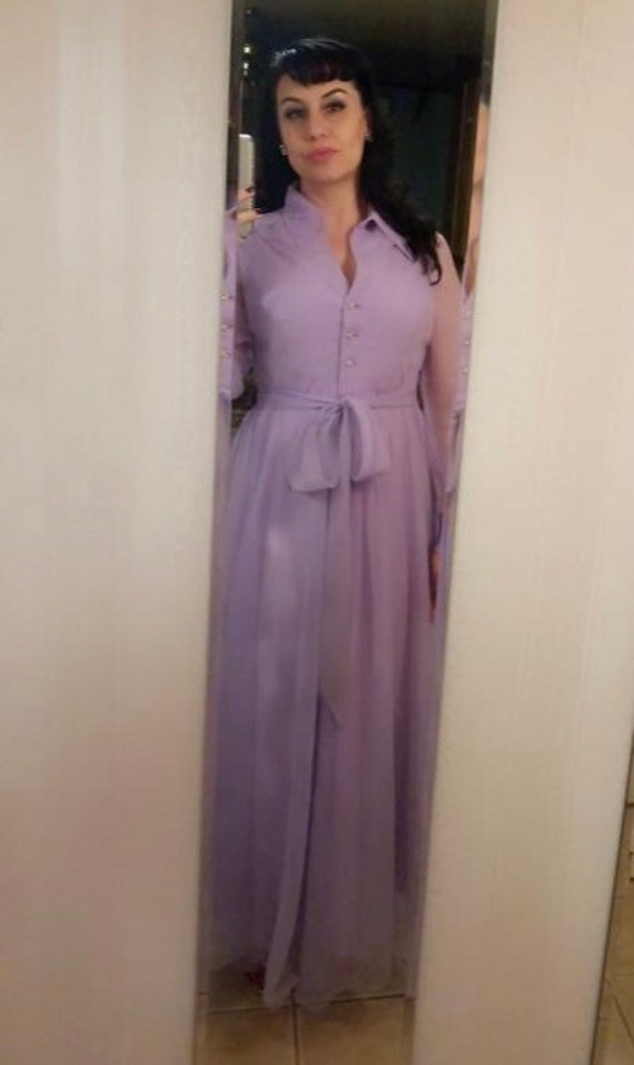 Vintage Lilac Dress with Jeweled Buttons - image 2