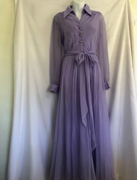 Vintage Lilac Dress with Jeweled Buttons - image 1