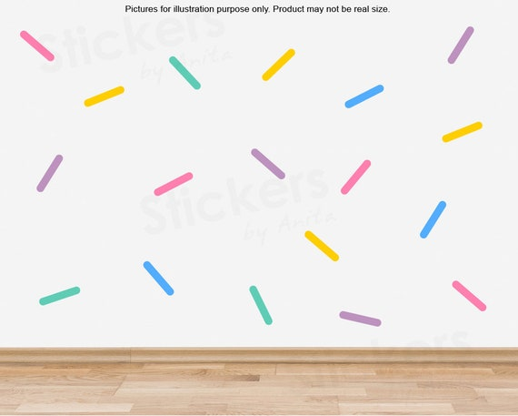 Colourful Sprinkles Wall Decals (Set 60), Colourful Sprinkles Wall  stickers, Removable Sprinkles stickers, Colourful Sprinkles room decor