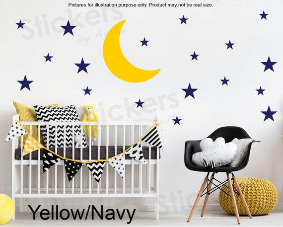 moon and stars decal nursery wall decal moon and stars   etsy