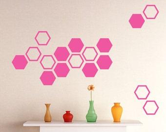 30 Hexagons Vinyl stickers, Combo Hexagon Wall pattern decals, Honeycomb wall decal, Modern Geometric shape, nursery kids stickers.