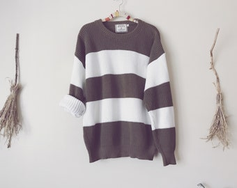White and Brown Striped Sweater, Knit Color Block