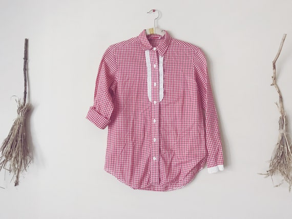 70s Twin Peaks, Ruffled Gingham Shirt