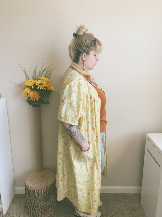 Autumn Morning Yellow Floral Duster | Yellow House