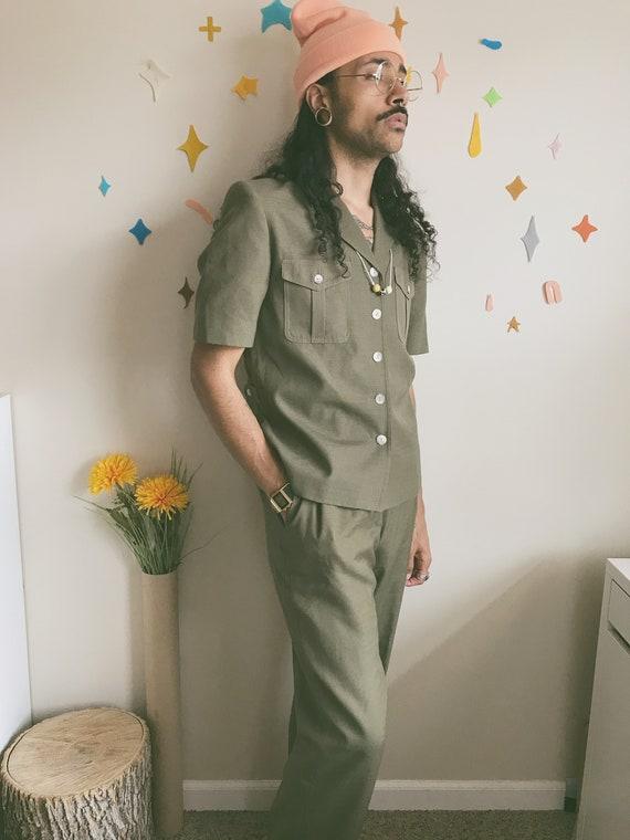 Authentic Olive Pendleton Linen Suit   70s Green L