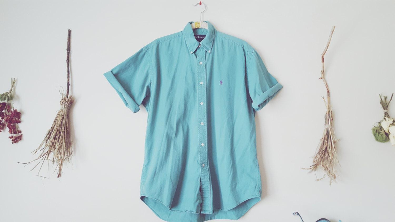 Vintage sur Ralph Lauren Turquoise bouton Up sur Vintage chemise c52158 e5a48a1058af