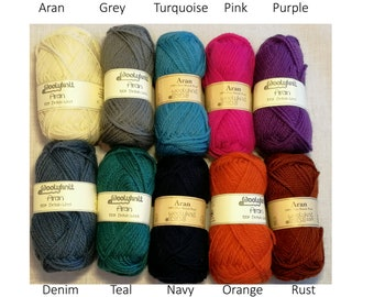 100% British wool aran weight