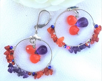 Cornaline Creole earrings and amethyst and cornaline drops