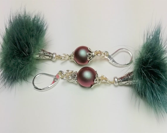 Silver earrings 925, Pearl swarovski pearls and green fur Pompom