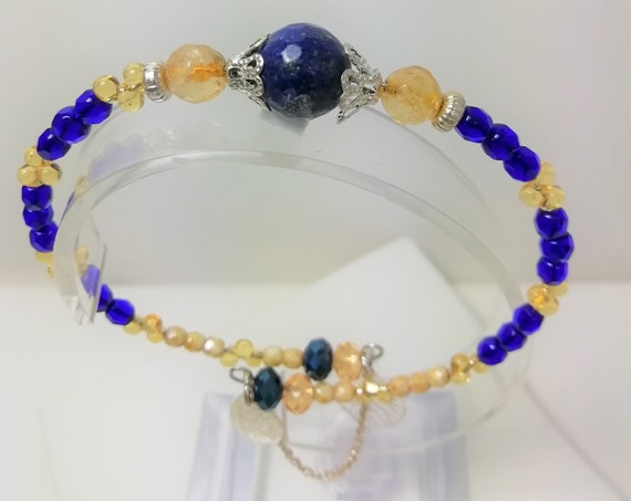Bracelet Bangle stone lapis lazuli and citrine, boho beads, silver chain and charms