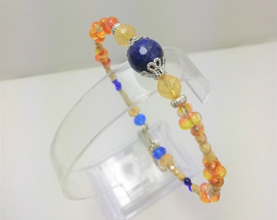 Bangle stone, boho beads, silver chain and charms