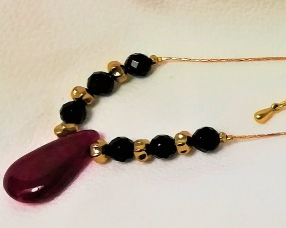 necklace plated gold onyx, ruby and myuki rockery beads