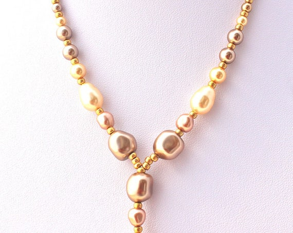 vintage necklace, wedding necklace with baroque swarovski pearls creamrose, bronze and gold.