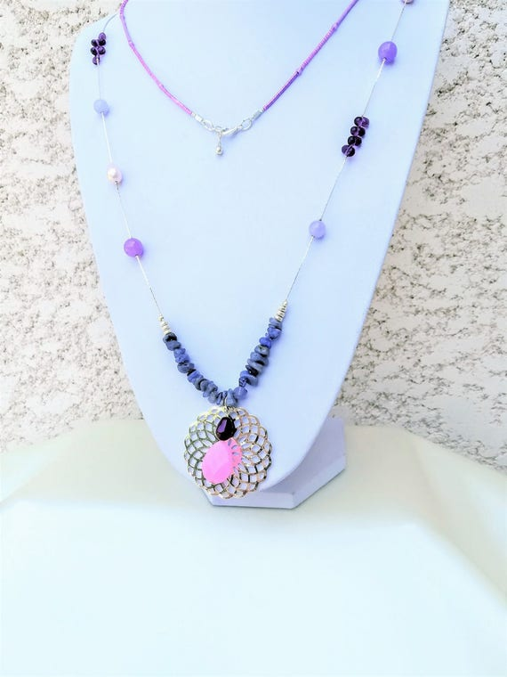 filigree rose necklace, gemstones, swarovski and myuki seed beads