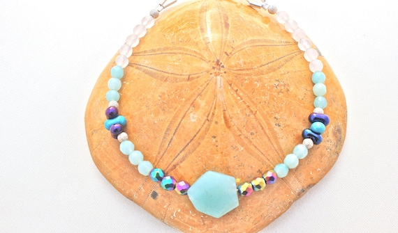 gemstones and silver bracelet: amazonite, hematite, Rainbow, rose quartz