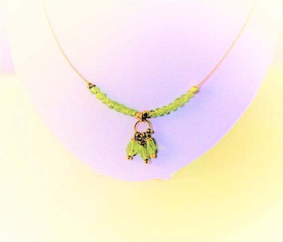 Necklace faceted gemstones: peridot with chain gold plated