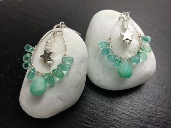 Silver earrings 925 amazonite drops and Boho pearls
