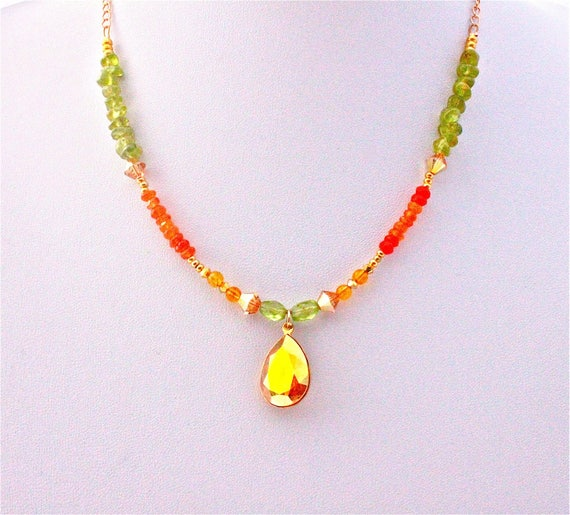 Gold plated wedding necklace with gemstones and swarovski cabochon