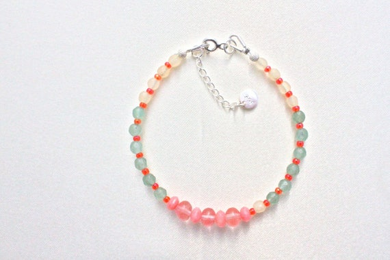 Bracelet gemstones: cherry quartz faceted, honey jade faceted bamboo Coral Sea, aventurine